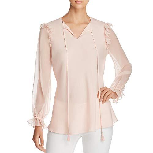 (Elie Tahari Womens Raisa Silk Ruffled Blouse Pink M)