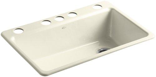 KOHLER K-5871-5UA3-FD Riverby Single Bowl Undermount Kitchen Sink, Cane Sugar