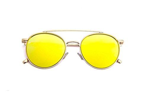 de color moda metal GLSYJ sol gafas sol de en and Versión de retro de coreano LSHGYJ sol brillante silver Gold de gafas doble gafas haz gafas wPq7IwB