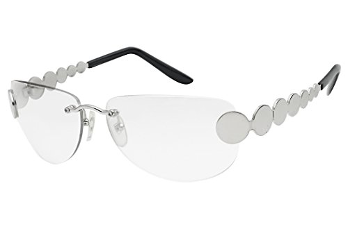 SunglassUP Super Vintage 1970's Disco Oval Rimless Metal Circle Sunglasses (Silver Frame | Clear, 60)