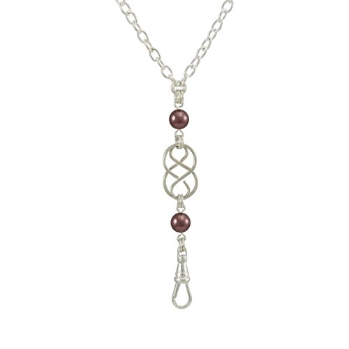 Brenda Elaine Jewelry | Women's Fashion Lanyard Necklace for ID Badge Holders | 32 Inch Silver Chain with Silver Celtic Knot and Mauve Swarovski Pearl Pendant & Rear Magnetic Break Away Clasp