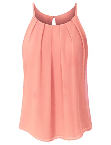 JSCEND Women's Round Neck Pleated Double Layered Chiffon Cami Tank Top A-Peach M