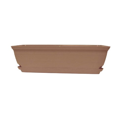 Misco Terra Collection Self-Watering Box Planter, 24 x 6 Inches, Sandalwood