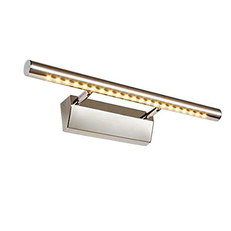 Dailyart 5w led spiegelleuchte Edelstahl badezimmer wandleuchte Schrankleuchte spiegelleuchte mit schalter 180° einstellbar badezimmer lampe, Warmes Weiß [Energieklasse A +]