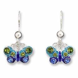 (Crystal Butterfly Sterling Silver and Enamel Earrings )
