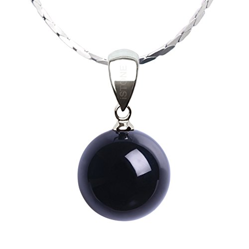 iSTONE Natural Black Agate Pear Shape Pendant Necklace 925 Sterling Silver Chain 18''