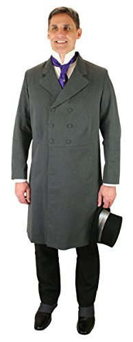 - Historical Emporium Men's Double Breasted Cotton Blend Frock Coat 42 Charcoal