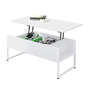 Beliwin Table Basse relevable Bureau avec Grand Rangement caché pour Bureau de Salon (Blanc)