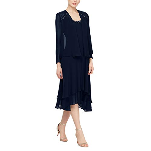 S.L. Fashions Women's Embellished Chiffon Tiered Jacket Dress, Navy, 14