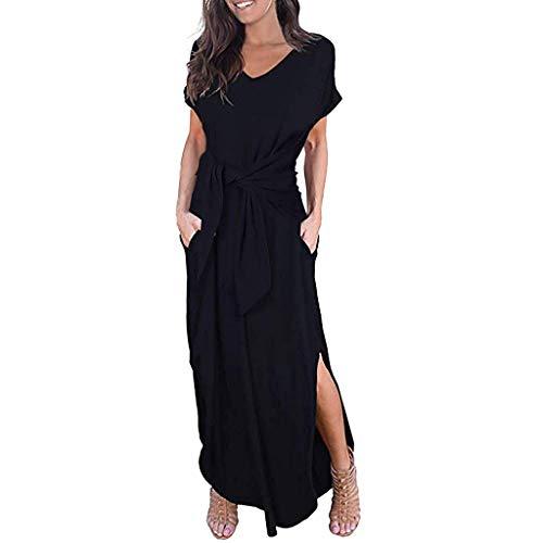 iBOXO Women's Long Maxi Dress Summer Casual High Waist Strap Split T-Shirt Dress(Black,XXL)