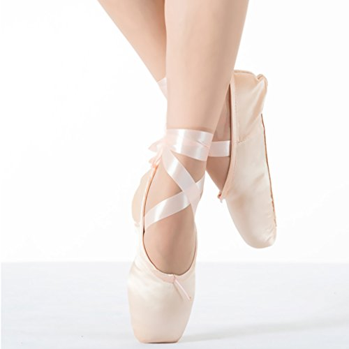 Girls Womens Dance Shoe Pink Satin Ballet Pointe Shoes with Ribbon and Toe Pads (US3.5 (Foot length:8.26 inch)) (Pointe Shoes Black)