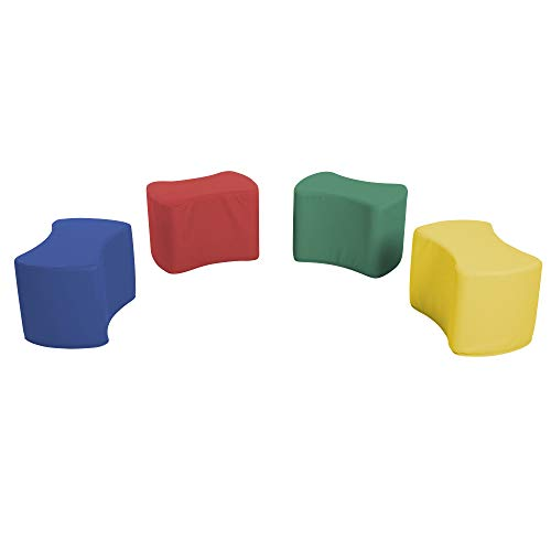 - SoftScape Butterfly Stool Modular Seating Set for Toddlers and Kids, Colorful Flexible Seating for Classrooms and Daycares (4-Piece Set) - Assorted