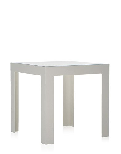 KOOPMAN Tavolino a triangolo ovalizzato in legno e dettagli bianchi 40x48h cm