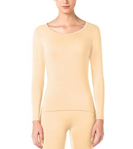 LAPASA Women's Lightweight Thermal Underwear Top Fleece Lined Base Layer Long Sleeve Shirt L15 (Nude, Medium)