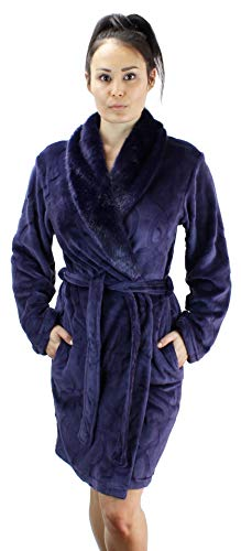 Ms Lovely Women's Warm Fleece Robe with Faux Fur Collar - Dark Purple X-Large