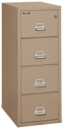 Taupe Vertical File Cabinet (Fireking Fireproof Vertical File Cabinet (4 Letter Sized Drawers, Impact Resistant, Waterproof), 52 .75