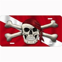 (New Salty Bones Aluminum Scuba Diving License Plate - Skull with Bandanna & Crossed Bones on Dive Flag)
