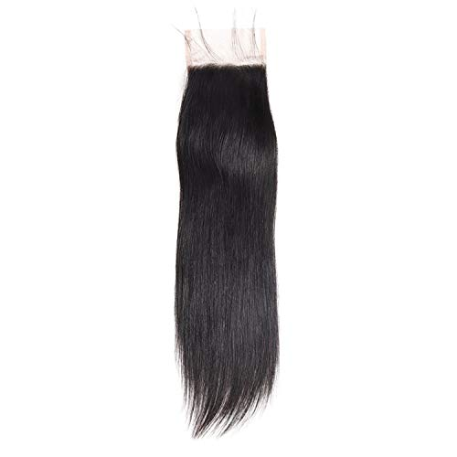 4x4 Lace Closure Indian Straight Hair Closure Natural Hair Extensions Non Remy Hair 8-20Inch Swiss Lace Closure Baby Hair,10inches,Free Part]()