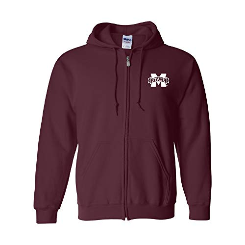 UGP Campus Apparel AZ07 - Mississippi State Bulldogs Primary Logo LC Full Zip Hoodie - Large - Maroon