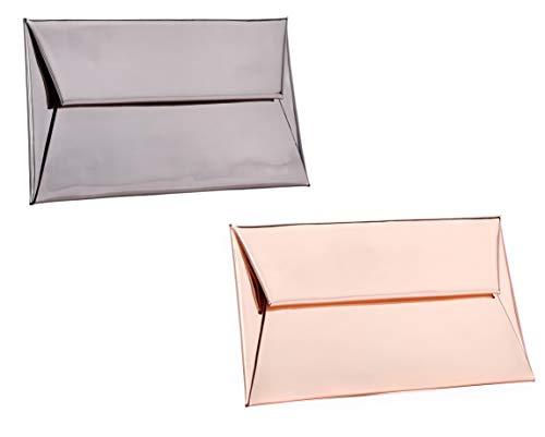 MARKFRAN Evening Purse Handbag Clutch Wedding Cocktail Party Bag Metallic Envelope Clutch (2PCS Rose Gold/Gun Metal)