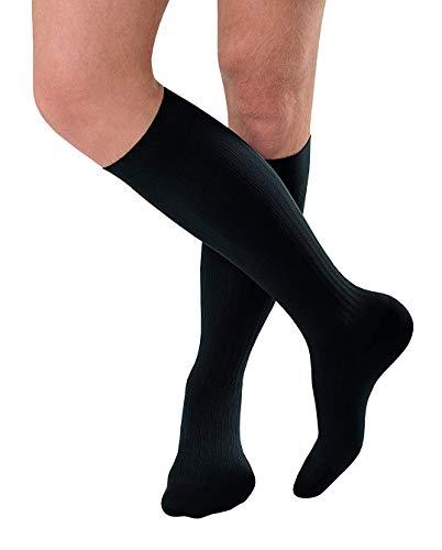 JOBST forMen Ambition Knee High 15-20 mmHg Ribbed Dress Compression Socks, Closed Toe, 2 Regular, Navy