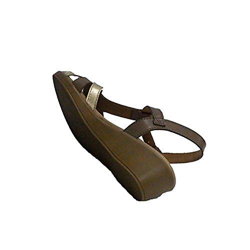Sandalia vestir mujer abrochadas con hebilla al tobillo Rodri en marrón