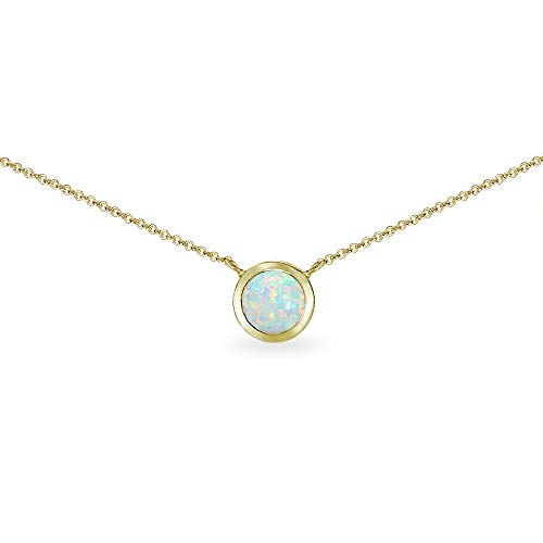 Gold Flash Sterling Silver Simulated White Opal 6mm Round Solitaire Bezel-Set Dainty Choker Necklace for ()