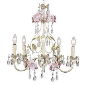 Jubilee Collection 7436 5 Arm Flower Garden Chandelier, Ivory/Sage/Pink