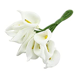 Artificial & Dried Flowers - 12pcs Mini Calla Artificial Flower Bouquet Wedding Decoration Diy Wreath Gift White - Artificial Dried Flowers Artificial Dried Flowers Calla Flower Lily Silk White 11