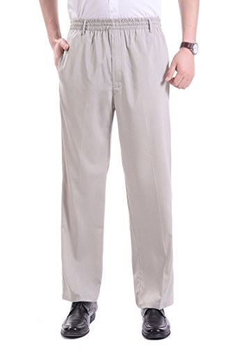 Soojun Men's Casual Straight Leg Full Elastic Waist Pull On Pants, Khaki, (Elastic Work Pant)