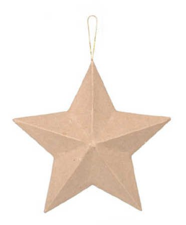 Package of 6 100% Biodegradable, and Eco-Friendly Dimensional Paper Mache Star ()
