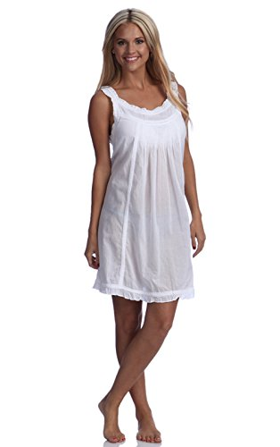 Handmade Embroidered Eyelet Sleeveless Lady Nightgown, 100% Cotton, 5 Sizes (small/6),White,Small / 6