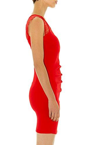 rosso aderente senza vestito spalline Un 0CY8w8