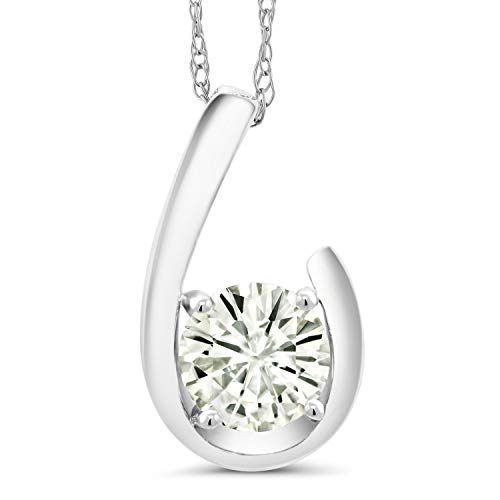 10K White Gold Pendant Forever Classic Round 0.80ct (DEW) Created Moissanite by Charles & Colvard