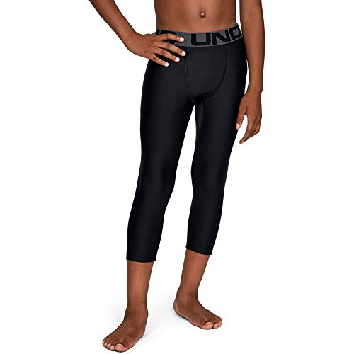 Under Armour Heatgear Armour 3/4 Leggings, Black//Pitch Gray, Youth Medium