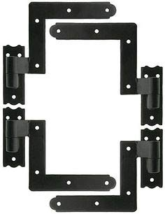 Delaney Exterior Shutter Blind Hinges with 2 Material Options and 3 siding Options, Available with or with Out S'' Hooks (Wood (489200) with S'' Hooks 2 Pack, Powder Coated Black) by Delaney