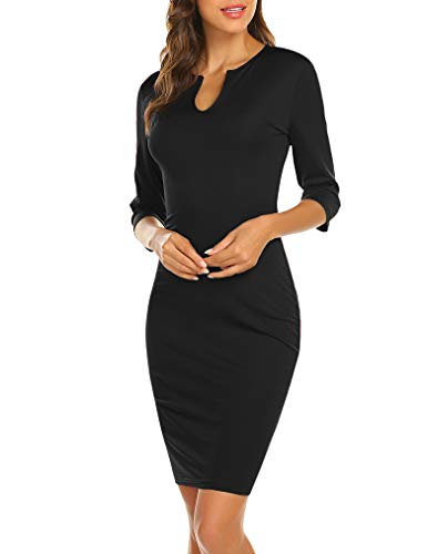 Naggoo Women's Business Wear to Work 3/4 Sleeve V Neck Bodycon Pencil Dress 03 Black# L