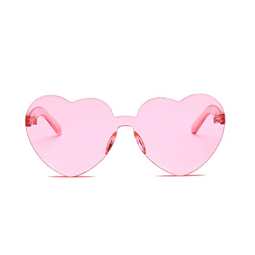 GAMT Rimless Sunglasses Love Heart Shape Sunglass Colorful Lens - Glasses Face For Shape Choosing