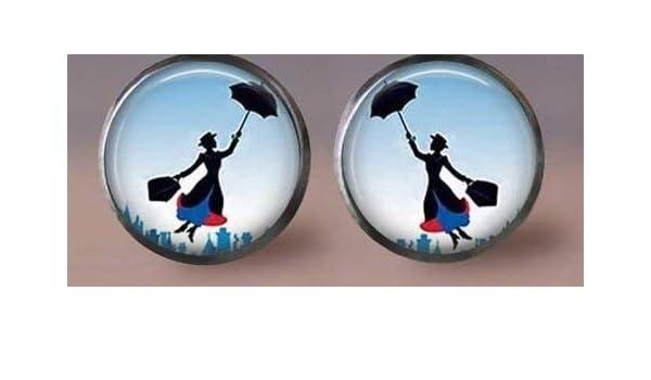 Mary Poppins Pendientes, hermosa niña y paraguas, joyería de moda: Amazon.es: Hogar