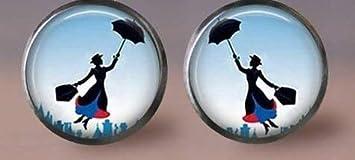 Mary Poppins Pendientes, hermosa niña y paraguas, joyería de moda