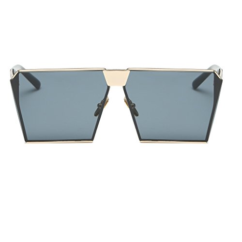 Yumian Unisex Oversized Sunglasses Gradient Mirror Lens Thick Metal Frame Sunglasses - Gowood Sunglasses