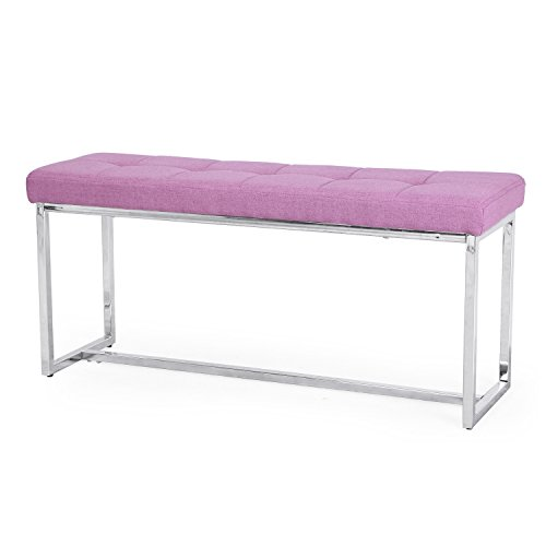 Home's Art EURO Style Fabric Bench Ottoman Chair Footstool with Arc Metal Stands (Pink with square silver (Euro Metal Chair)