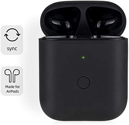 [Upgraded] Charging Case Replacement for Airpods with Sync Button, Wireless Charging Case Compatible with Airpod 1 & Airpod 2, 450mA Built-in Battery, Black