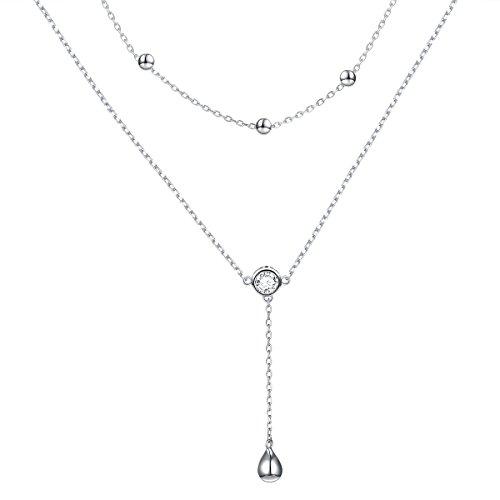 Drop Teardrop Necklace - ATHENAA Sterling Silver Teardrop Double Layered Choker Y Necklace for Women Girls
