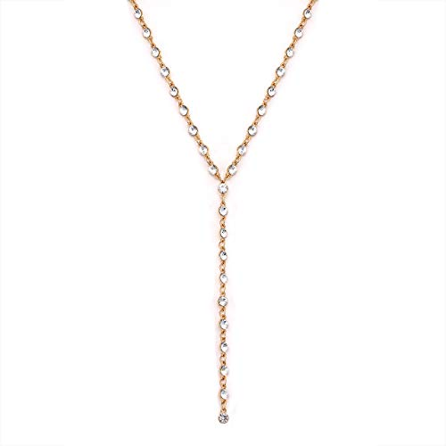 Crystal Y Drop Choker Necklace CZ Station Lariat Rhinestone Tassel Pendant Necklace for Women Girls Prom Party Jewelry (Gold)
