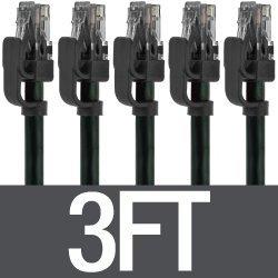Mediabridge Cat6 Ethernet Patch Cable (5-Pack - 3 Feet) - Soft Flex Tab - RJ45 Computer Networking Cord - Black - (Part# 32-699-03X5)