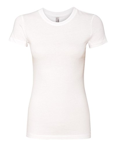 Womens Fitted Baby Rib Tee (Next Level Womens The Perfect Tee Shirt 3300L -WHITE S)