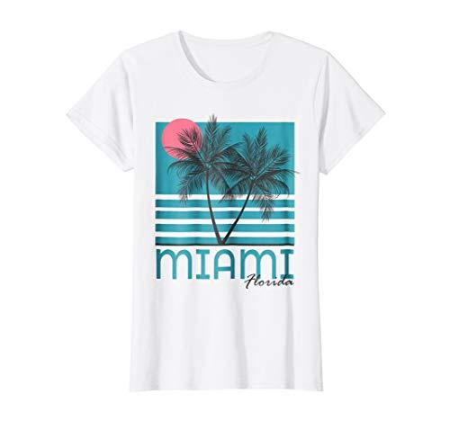 Womens Miami Beach Florida T Shirt Palm Trees Souvenirs Small White