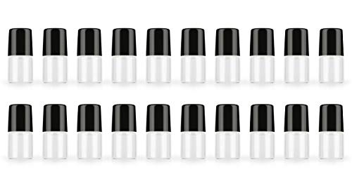 (20 Pack Set 1ML Mini Sample Roll Glass Bottles for Essential Oils Roller Refillable Perfume Roll Bottle (Black Pure))