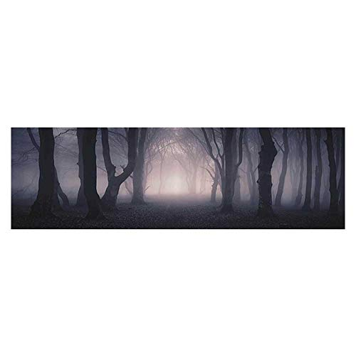 - Auraise Heybee Background Poster Path Through Dark Deep in Forest with Fog Creepy Twisted Branches Fish Tank Wall Decorations Sticker 23.6